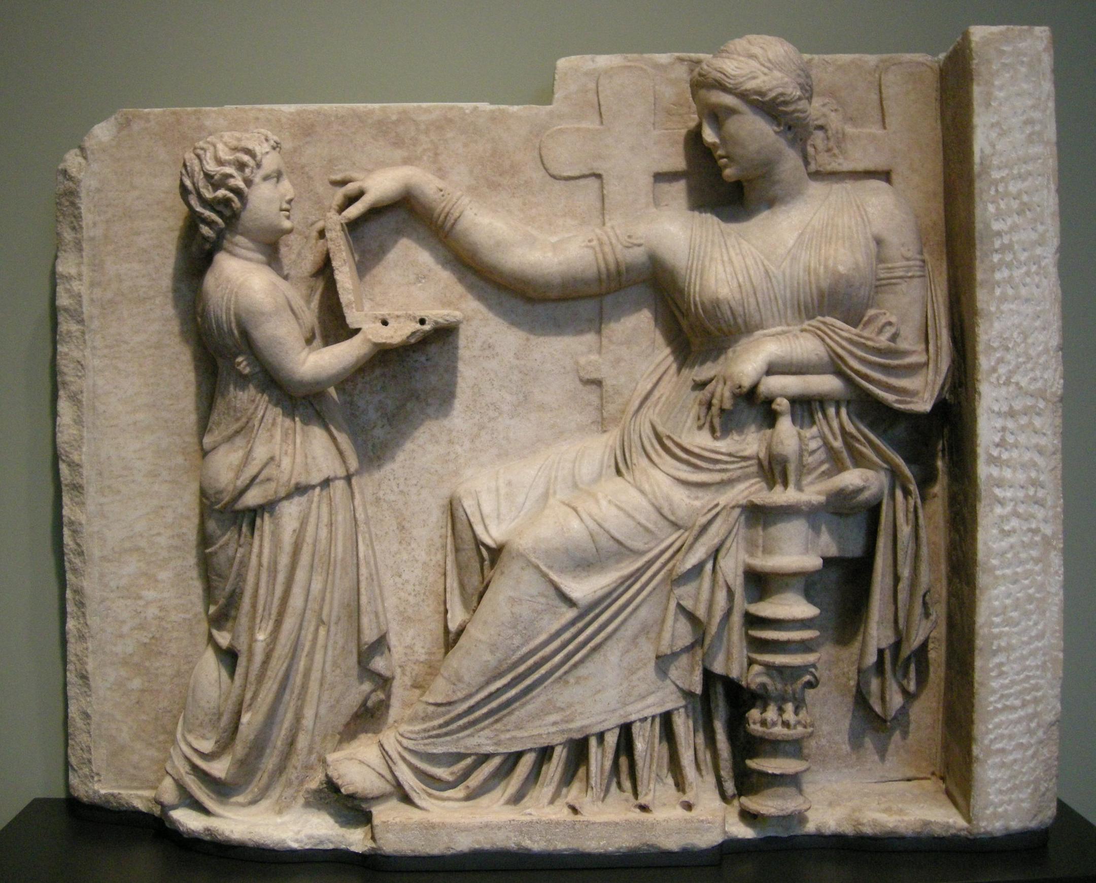 Arte_greca,_pietra_tombale_di_donna_con_la_sua_assistente,_100_ac._circa